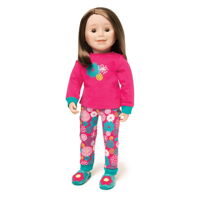 Matching pajamas for doll and girl.  Pink and teal PJs shown on 18 inch doll.