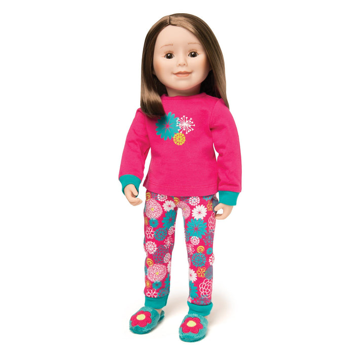 878b2509b9 ... Matching pajamas for doll and girl. Pink and teal PJs shown on 18 inch  doll