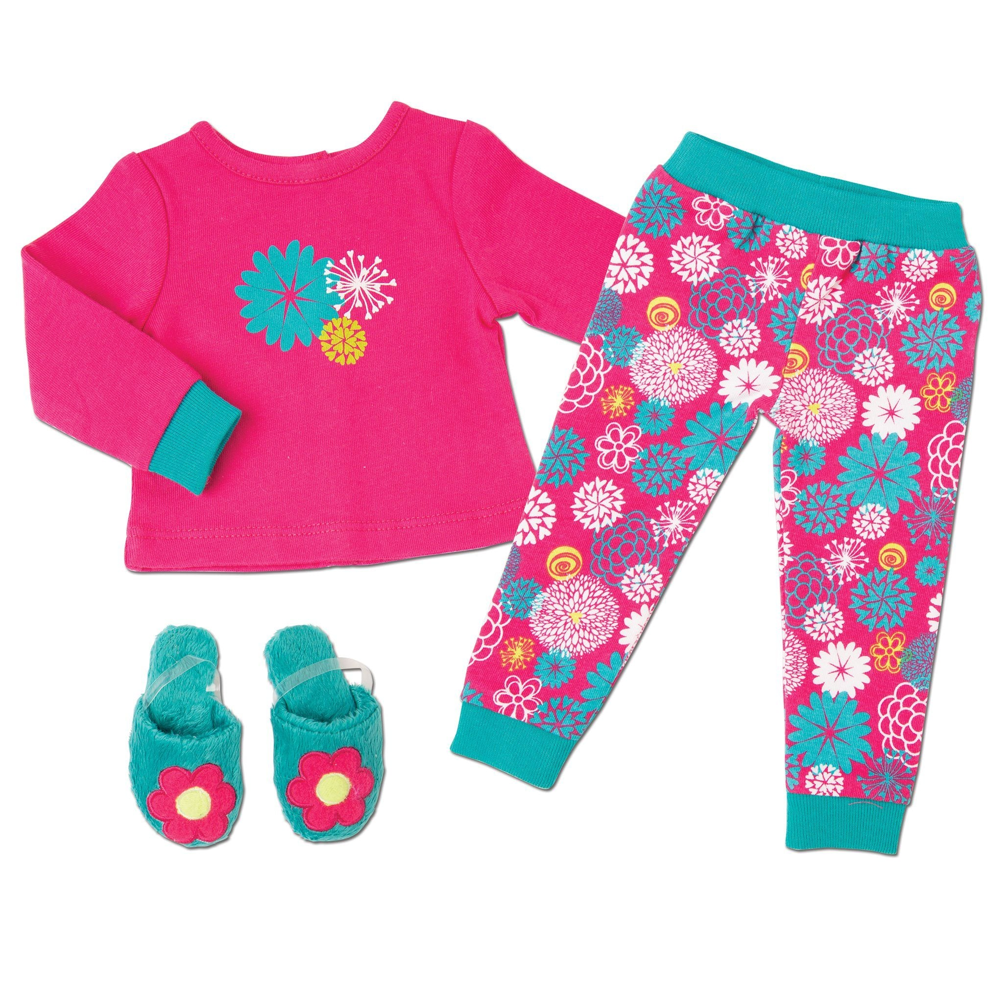 Pajamas for 18 inch doll.  Pajama top, bottoms and slippers.