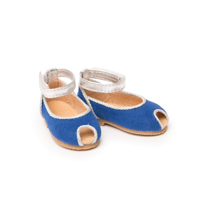Bright blue peep-toe sandals with silver strap and accents fits all 18 inch dolls.