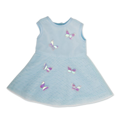 Light blue layered mesh dress with iridescent 3D appliqué butterflies fits all 18 inch dolls.