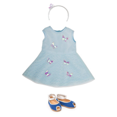 Layered dress with 3-D butterflies, silver headband and peep-toe sandals for 18 inch dolls.