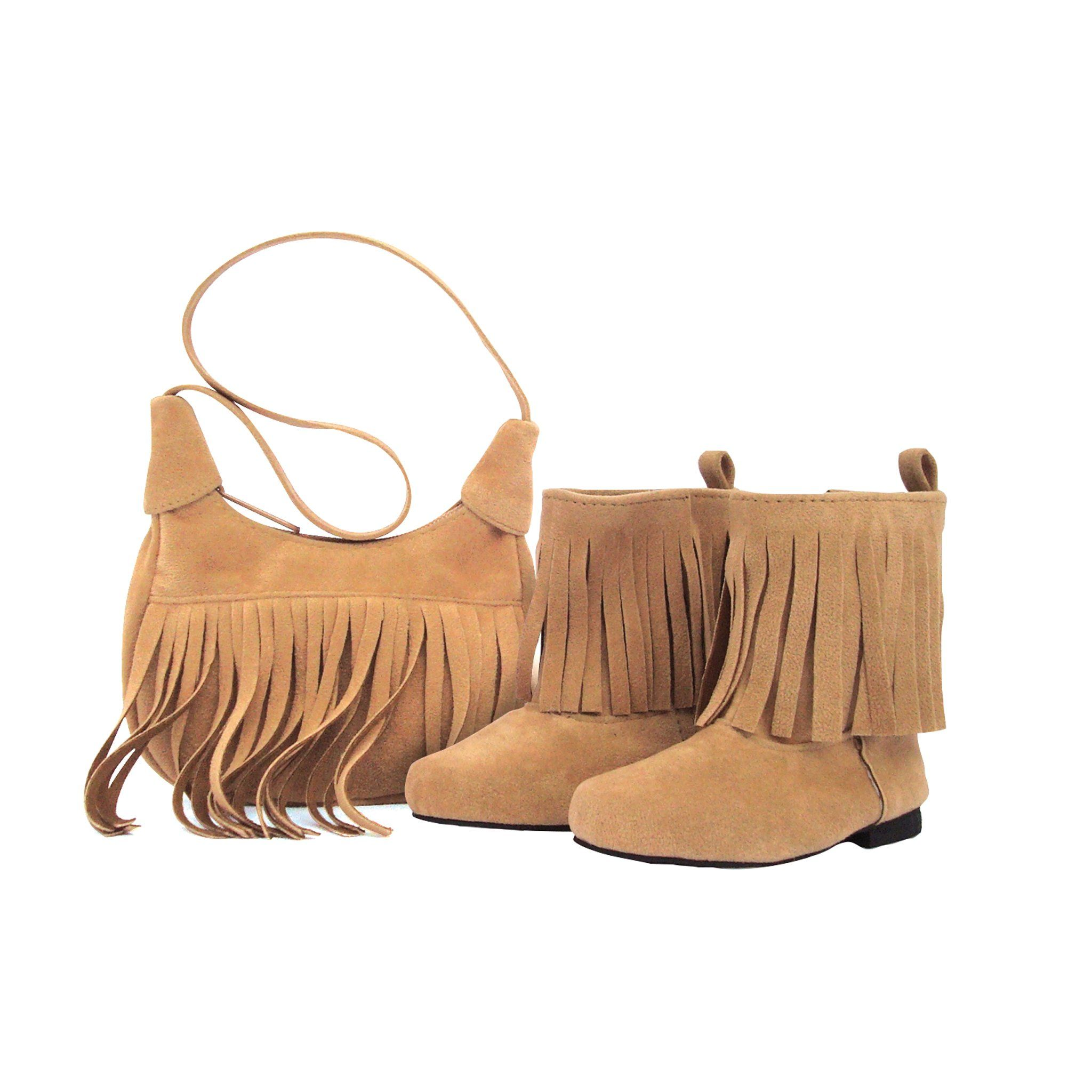 Western suede-like fringed purse and boot accessory set fits all 18 inch dolls.