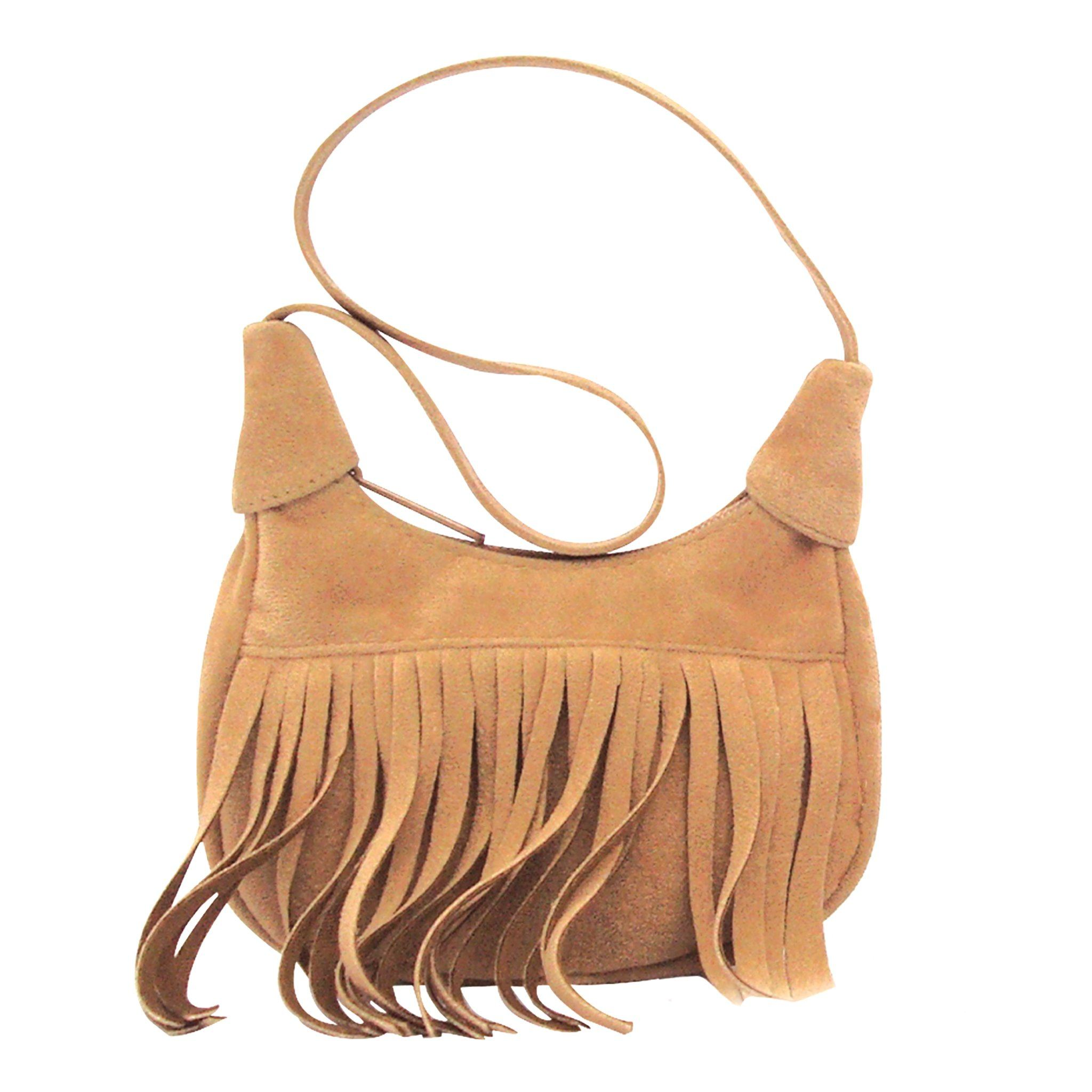 Western Fringe tan suede-like fringed purse suitable for all 18 inch dolls.