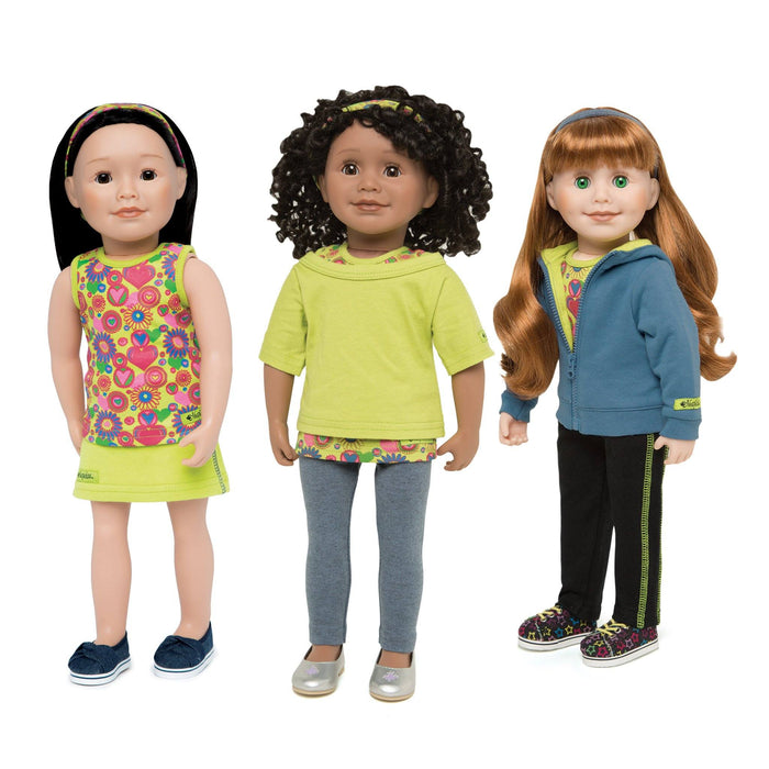 Nine piece mix'n'match coordinates set shown on three 18 inch dolls.