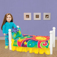 "Colourful sunshine bedding for dolls shown on Maplelea doll bed with 18"" doll."