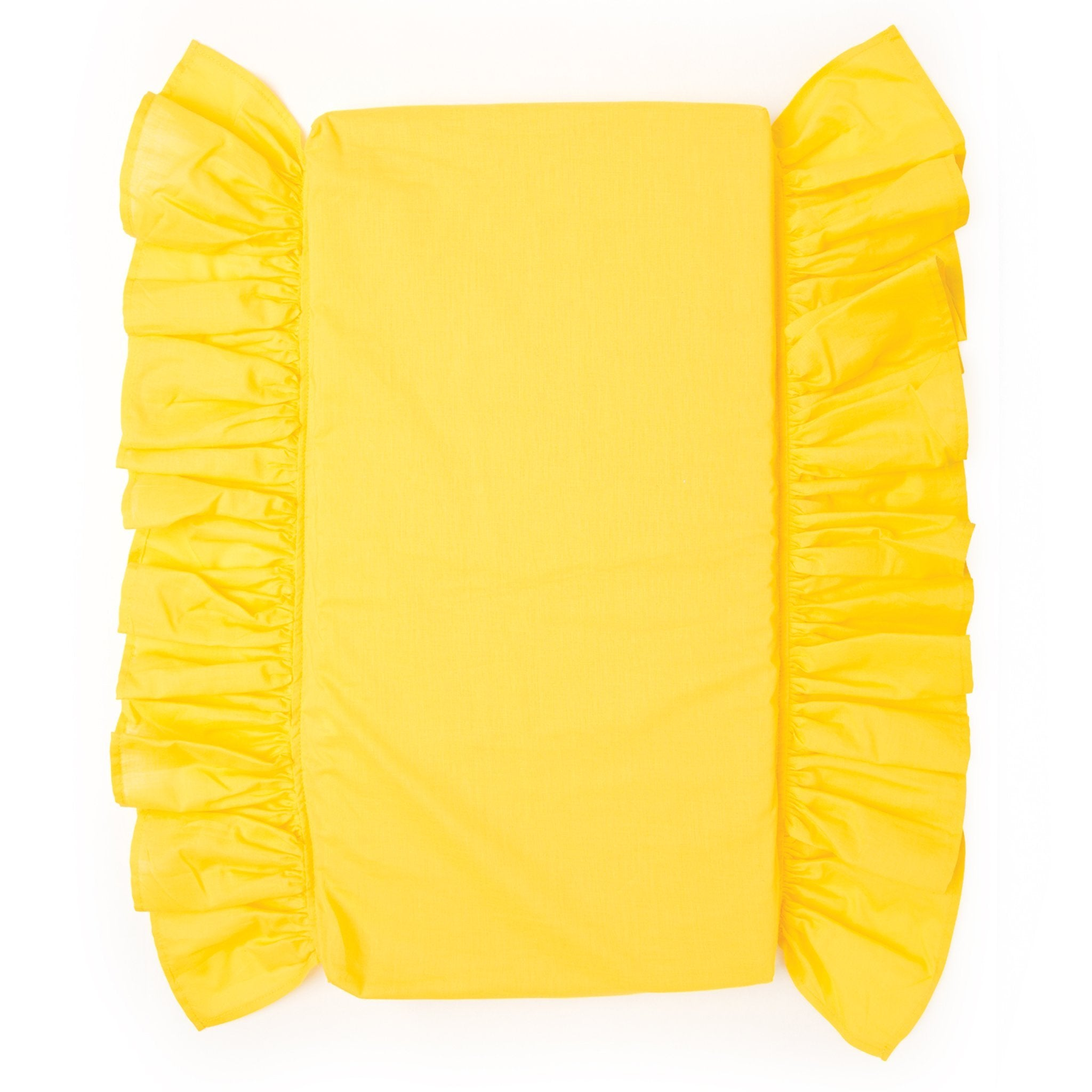 Sunshine bedding includes a bottom sheet with ruffle.  For 18 inch dolls.