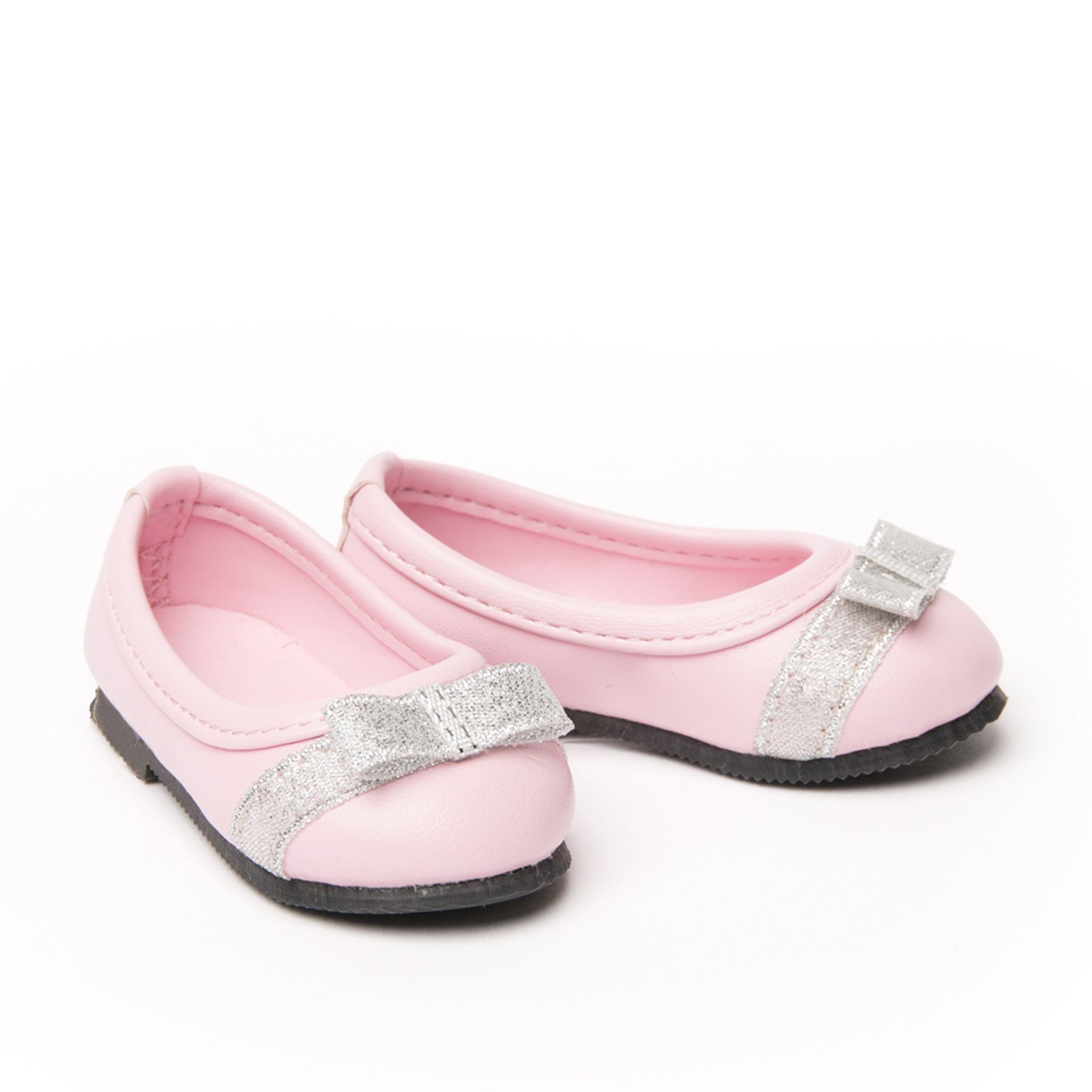Graceful Lace pink ballet flats with silver accents fits all 18 inch dolls.