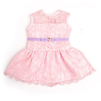 Light pink lace dress with purple velvet bow belt fits all 18 inch dolls.