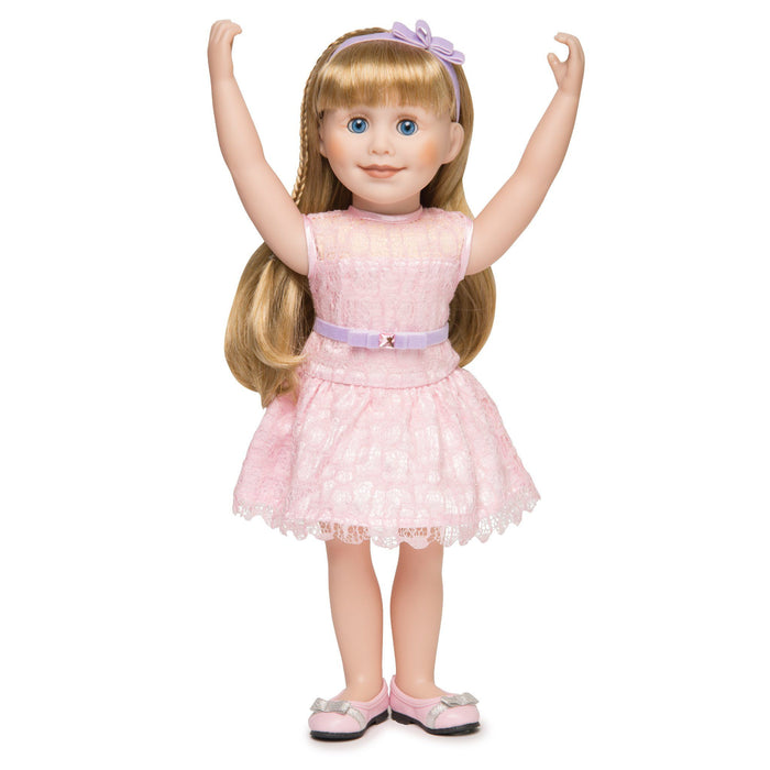 Pink lace dress with hairband and pink ballet flats with silver bows fits all 18 inch dolls.