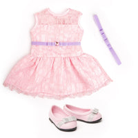 Pink lace dress with velvet bow belt and hairband and ballet flats fits all 18 inch dolls.