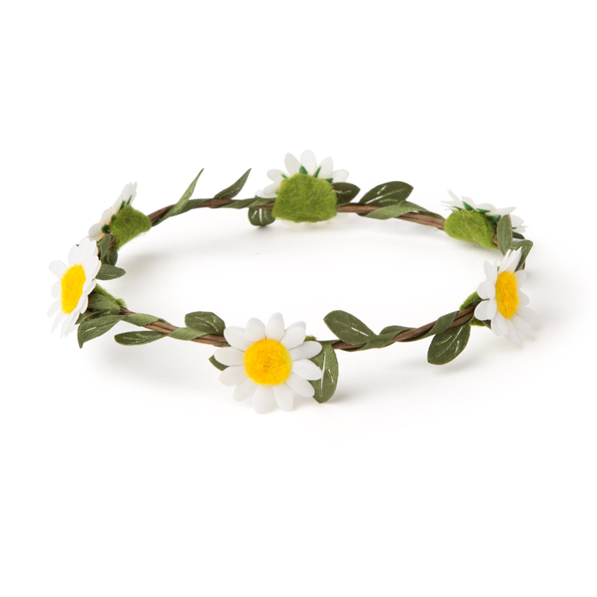 Daisy-chain floral wreath headband fits all 18 inch dolls.
