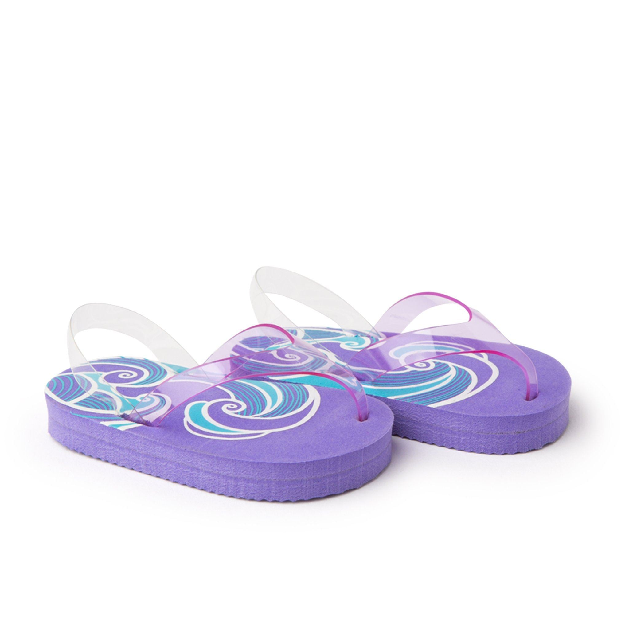 Purple flip-flop sandals fits all 18 inch dolls.