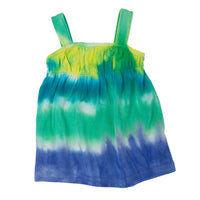 Granville Island Groovy yellow, green, teal and purple tie-dyed dress fits all 18 inch dolls.