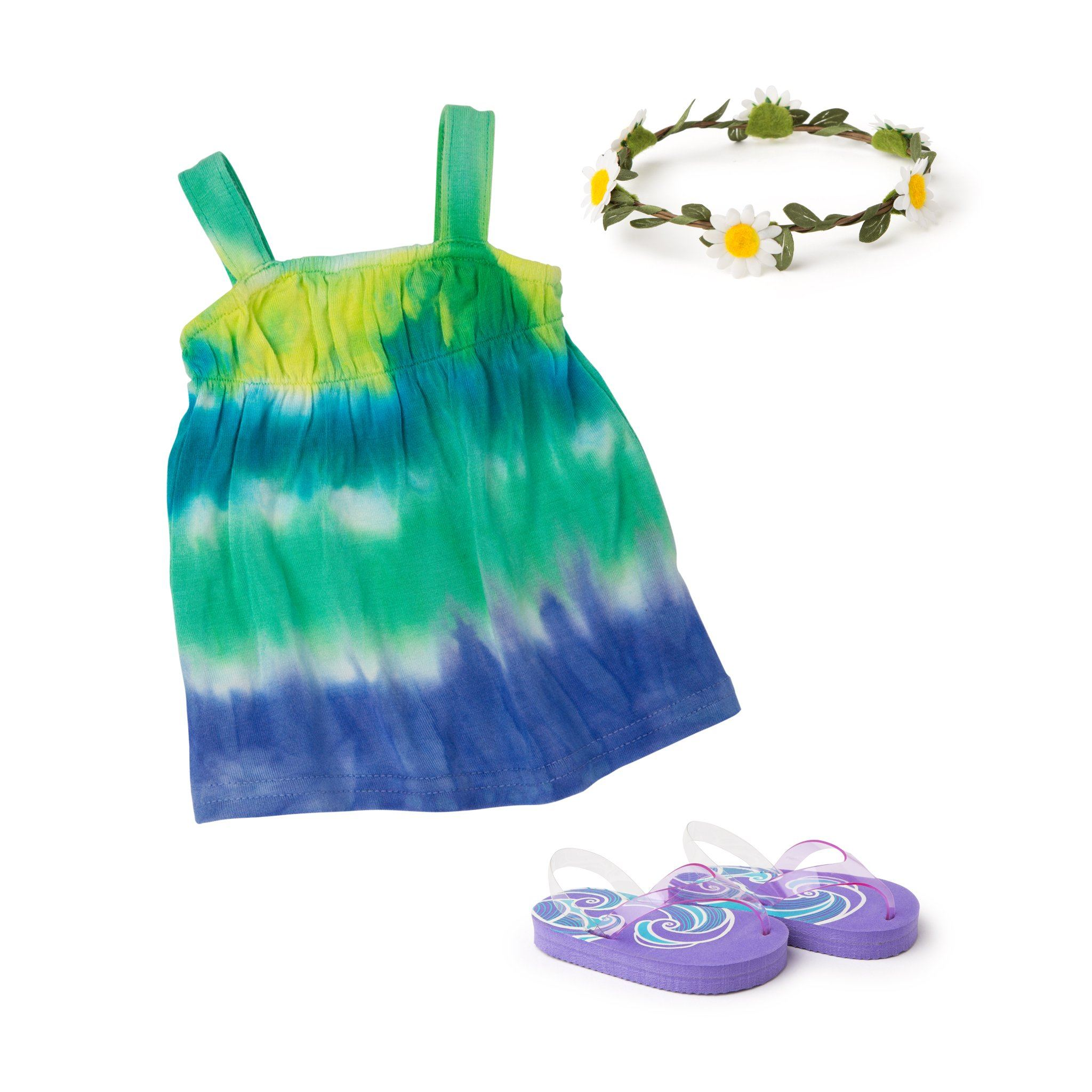 Tie-dyed summer dress with purple flip-flops and daisy-chain headband fits all 18 inch dolls.