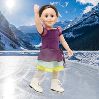 White figure skates shown on 18 Inch dolls wearing skating outfit by Maplelea.