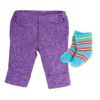 Gulf Island Stylin' purple patterned capri pants, colourful striped socks fits all 18 inch dolls.