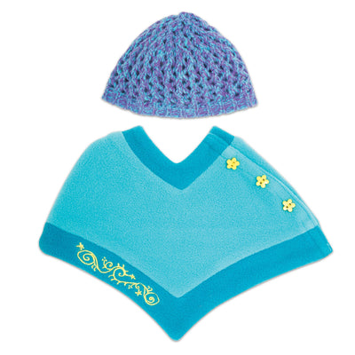 Gulf Island Stylin' teal poncho with yellow button detail, crochet hat fits all 18 inch dolls.