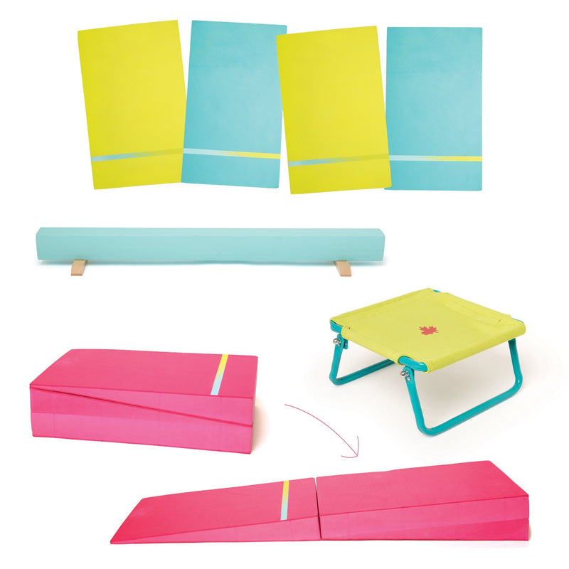 Gymnastics Set includes balance beam, 4 floor mats, trampoline, fold-out cheese for 18 inch dolls.