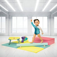 18 inch doll with gymnastics balance beam, floor mats, trampoline and fold-out cheese.