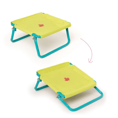 Adjustable trampoline for 18 inch dolls shown in two positions.