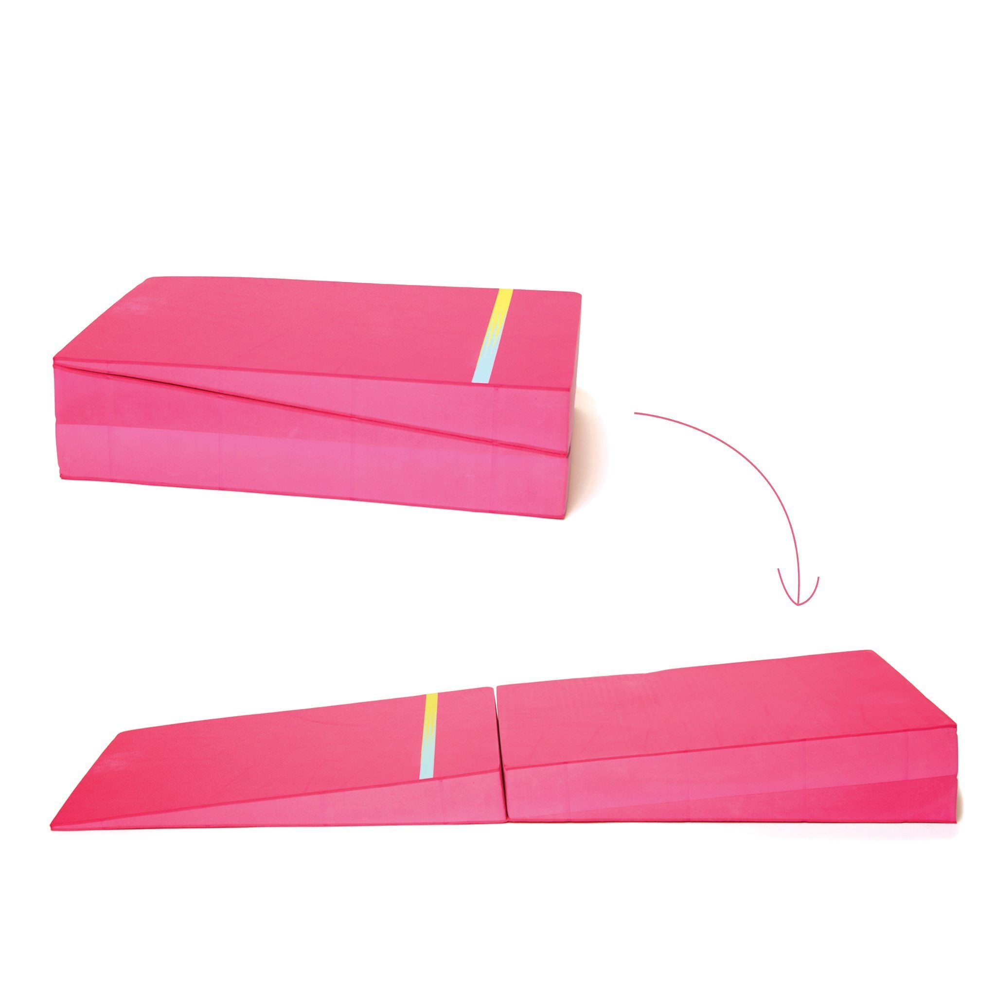 Maplelea Gymnastics Set for dolls shows fold out cheese mat in two positions.