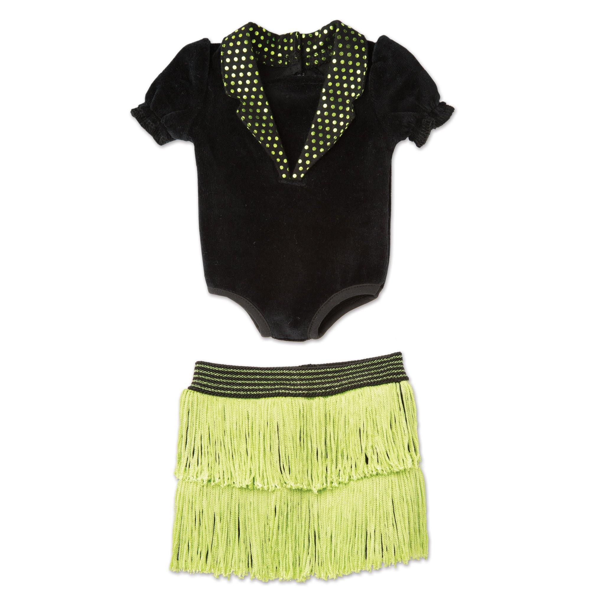Happy Tap black bodysuit and green fringed skirt fits all 18 inch dolls.