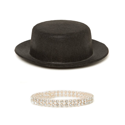 Happy Tap black top hat, sparkly choker fits all 18 inch dolls.