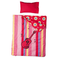 Harmony red guitar-themed bedding with mattress, pillow and striped pattern comforter and contrast circle pattern. Converts to sleeping bag.