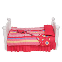 Harmony red guitar-themed bedding with mattress, pillow and striped pattern comforter and contrast circle pattern. Converts to sleeping bag. Shown on KM1 Maplelea doll bed, fits all 18 inch dolls.