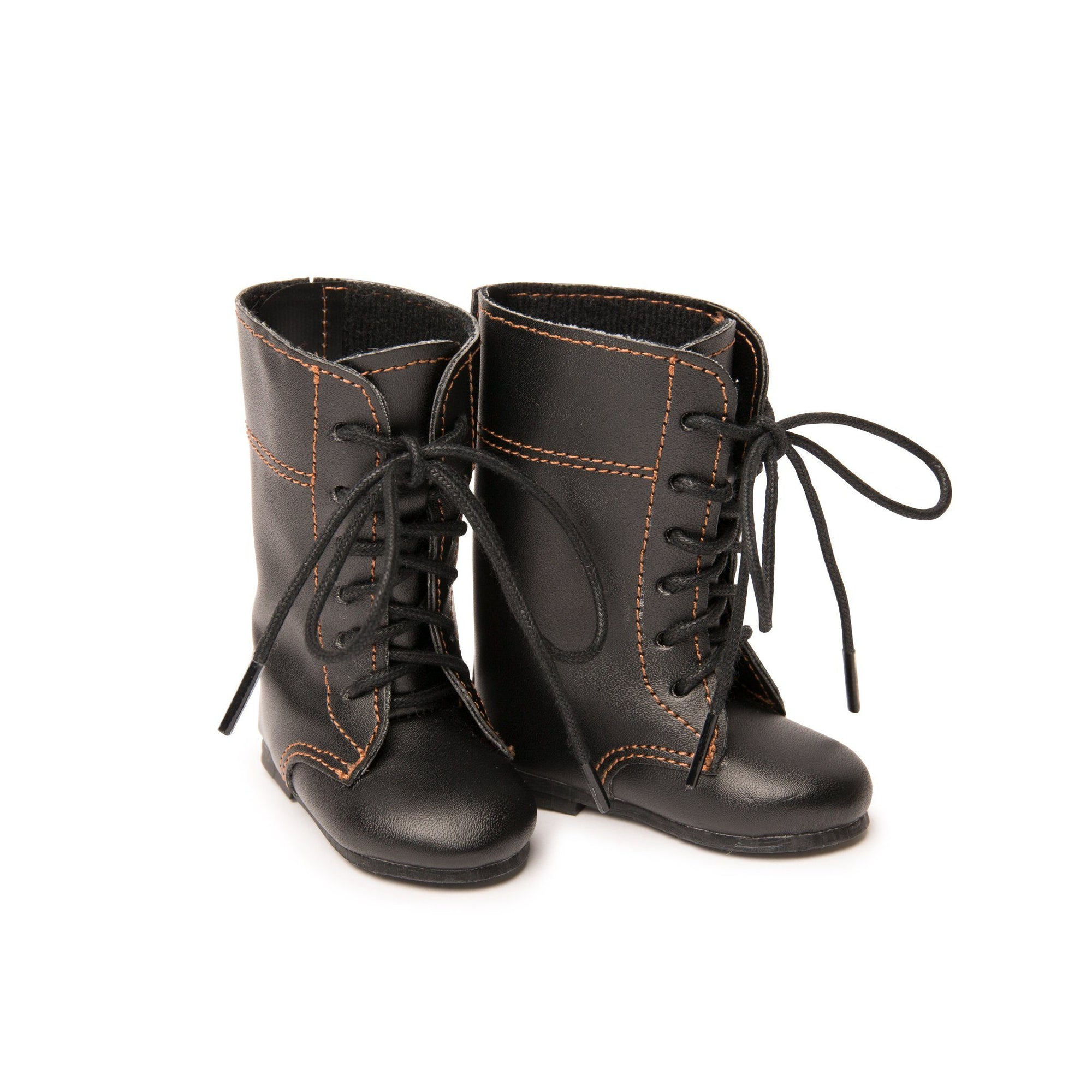 Black tall lace-up boots firs all 18 inch dolls.