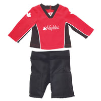 Hockey set red hockey jersey, black hockey shorts Fits all 18 inch dolls.