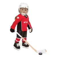 Hockey set red hockey jersey, black hockey shorts, shin pads, shoulder pads, socks, skates, hockey stick, puck, neck guard and gloves. Helmet sold separately. Fits all 18 inch dolls.