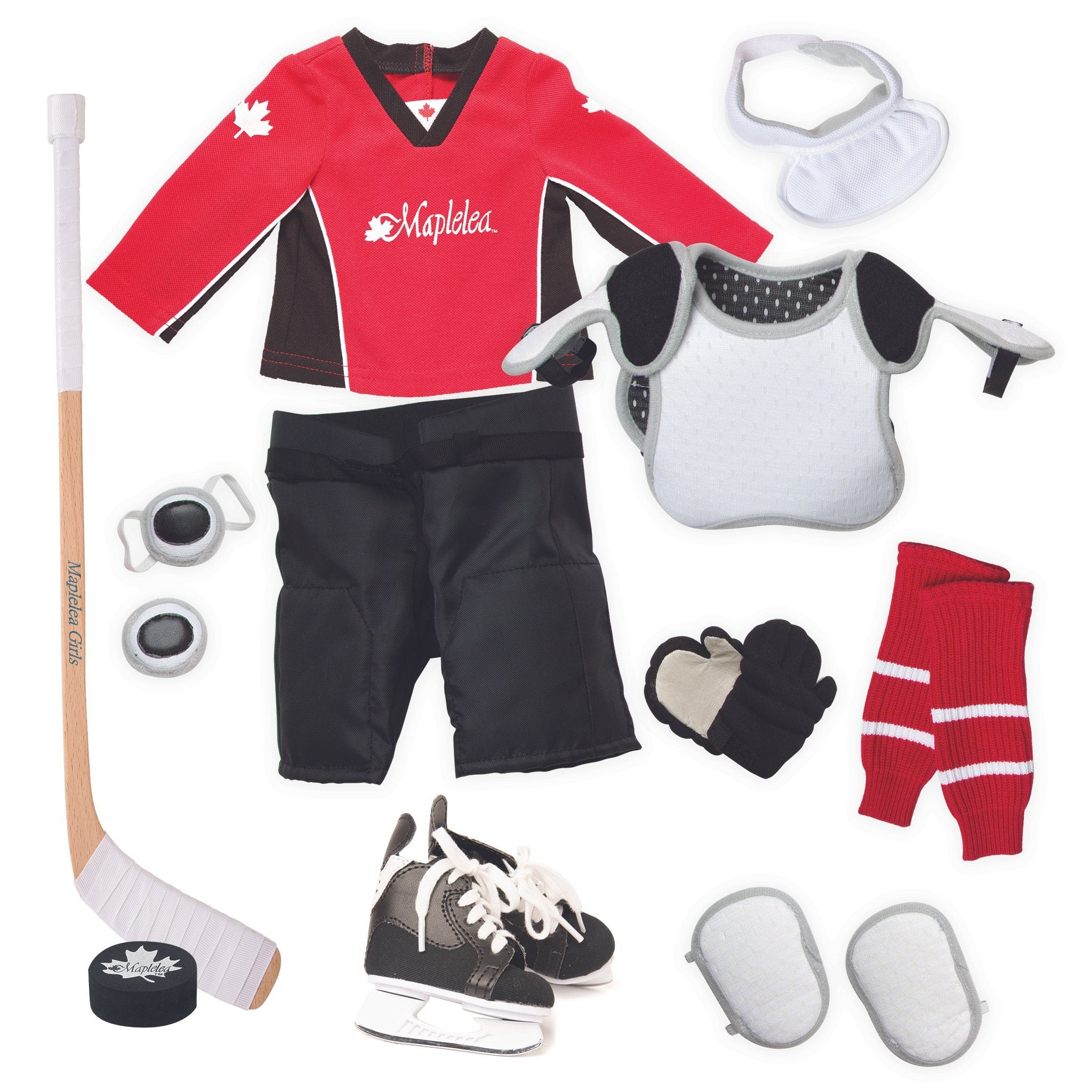 Hockey set red hockey jersey, black hockey shorts, shin pads, shoulder pads, socks, skates, hockey stick, puck, neck guard and gloves. \Fits all 18 inch dolls.