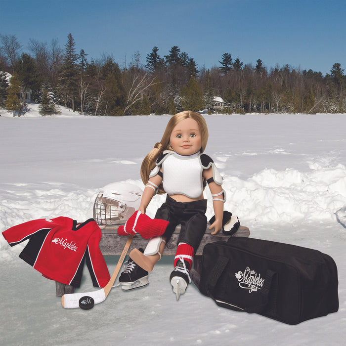 Hockey set red hockey jersey, black hockey shorts, shin pads, shoulder pads, socks, skates, hockey stick, puck, neck guard and gloves. Fits all 18 inch dolls.