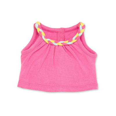 Holiday Hooray summer outfit pink tank top with coloured braided neckline fits all 18 inch dolls.