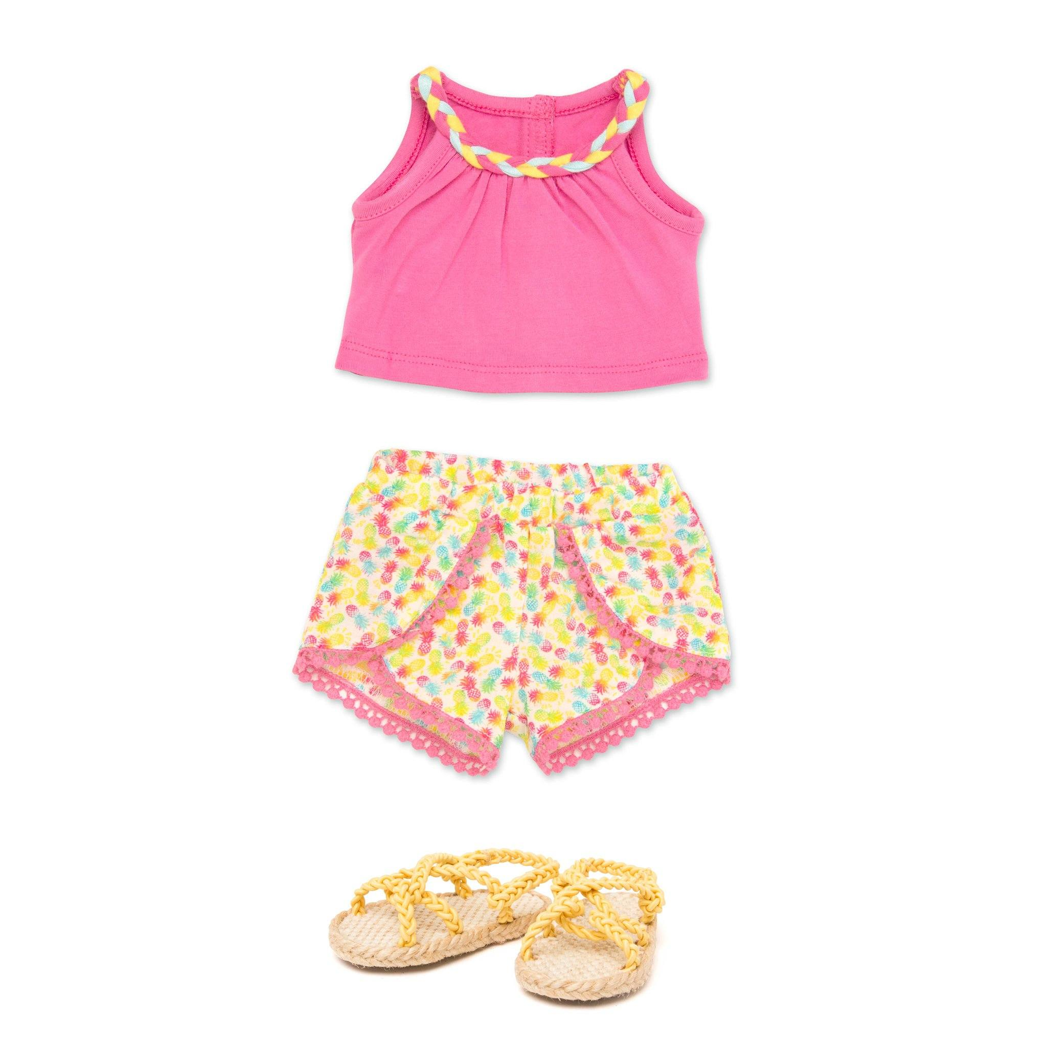 Holiday Hooray summer outfit pink tank top with braided neckline detail, tulip-style patterned shorts and yellow rope sandals fits all 18 inch dolls.