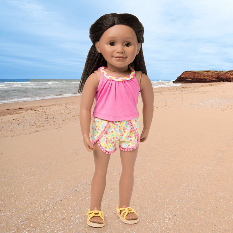 Holiday Hooray summer outfit pink tank top with braided neckline detail, tulip-style patterned shorts and yellow rope sandals fits all 18 inch dolls.  Shown on KMF12 Maplelea Friends doll.
