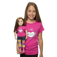 I love Maplelea bright pink t-shirt for Girls. Shown on model with KC1 Charlsea doll wearing matching shirt for dolls.