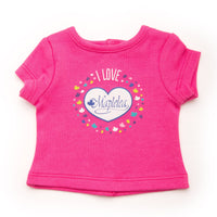 I love Maplelea bright pink t-shirt for dolls firs all 18 inch dolls.
