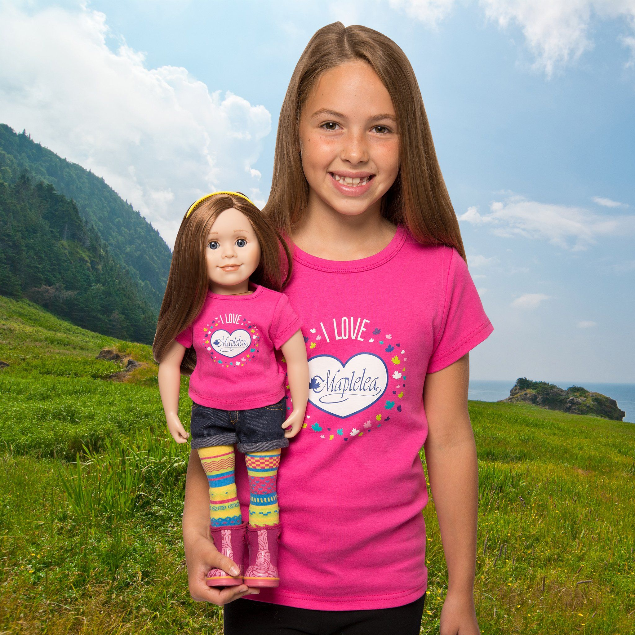 I love Maplelea bright pink t-shirt for dolls. Shown on KC1 Charlsea doll with matching shirt for girls on model.