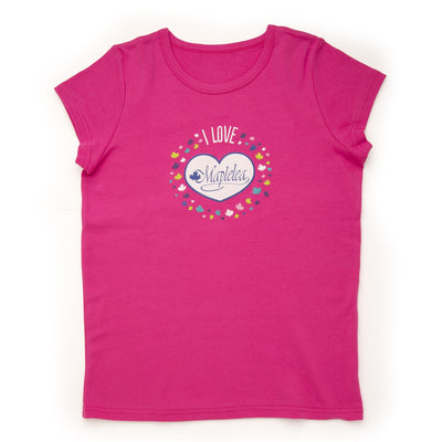 I love Maplelea bright pink t-shirt for Girls.
