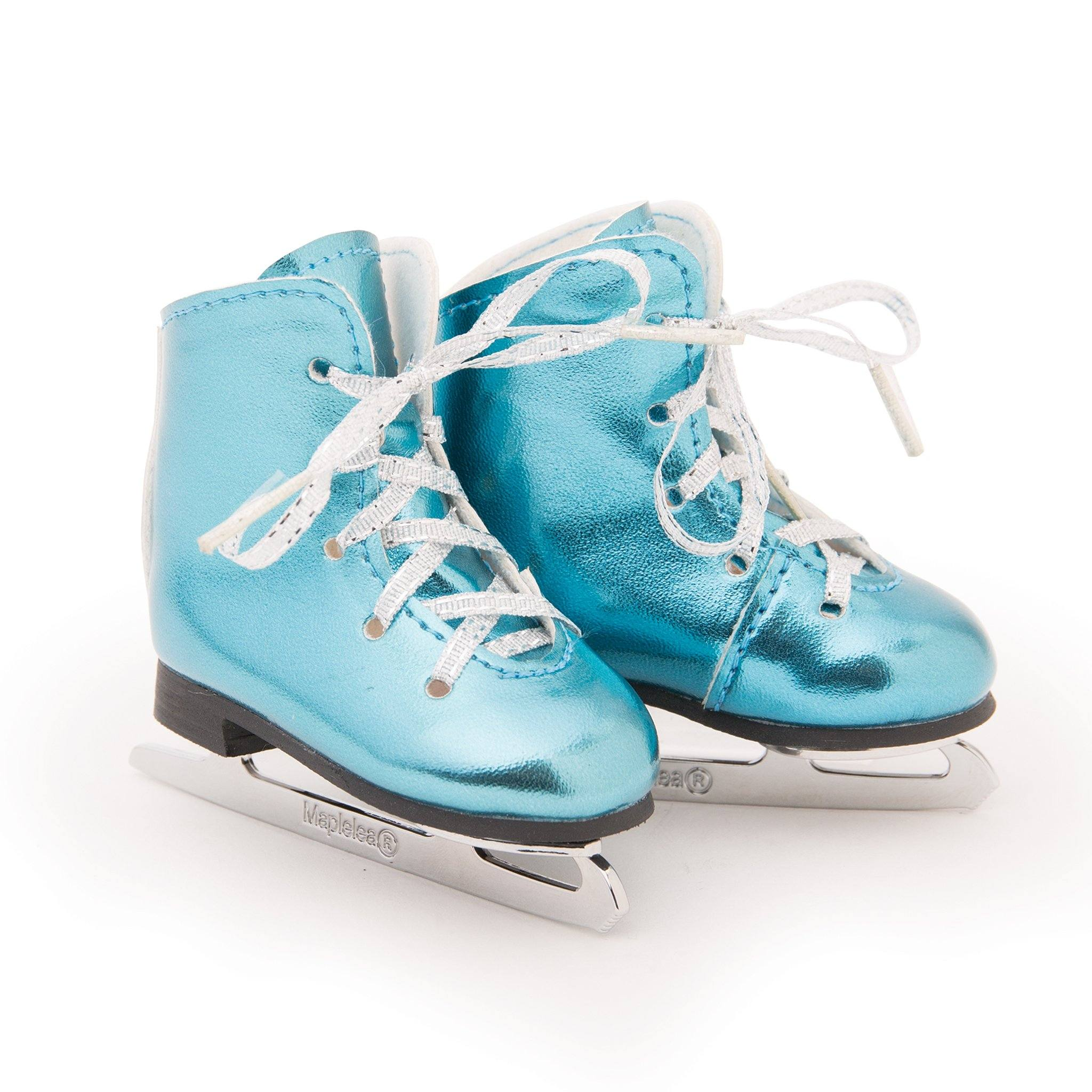 Icy cool shiny blue figure skates fits all 18 inch dolls.