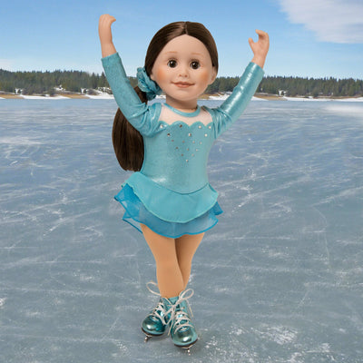 Icy cool shiny blue skating dress and shiny blue figure skates, matching hair scrunchie with beige skating tights fits all 18 inch dolls. Shown on KT1 Taryn doll.