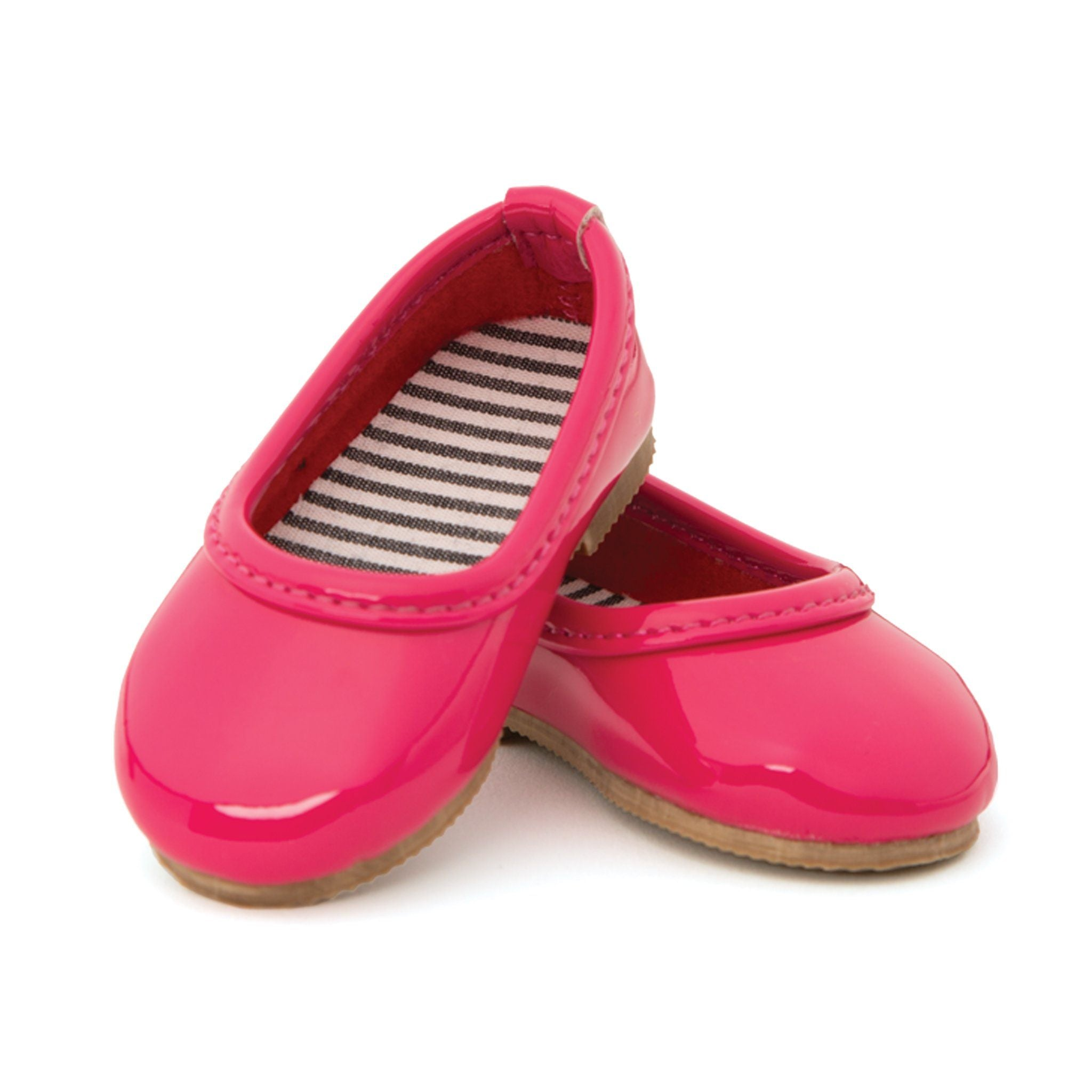 Ile de passage bright pink shiny flats. Fits all 18 inch dolls.