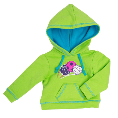 Bright green hoody with sports ball graphic and blue lined hood fits all 18 inch dolls.