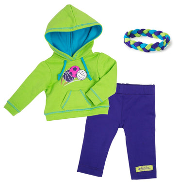 Bright green hoody with sports ball graphic and blue-lined hood, purple capri pants and braided headband fits all 18 inch dolls.