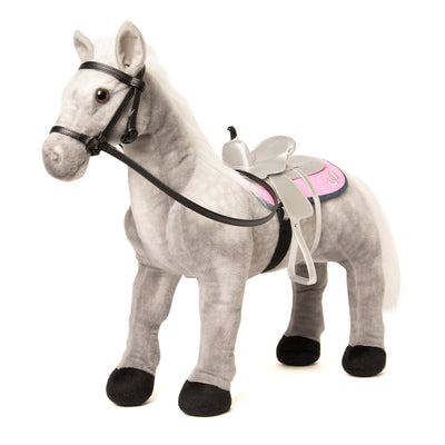 "Maplelea Grey Welsh Pony for Maplelea Girl Brianne with silver saddle, reversible pink and denim horse blanket and black bridle. Fits all 18"" dolls."