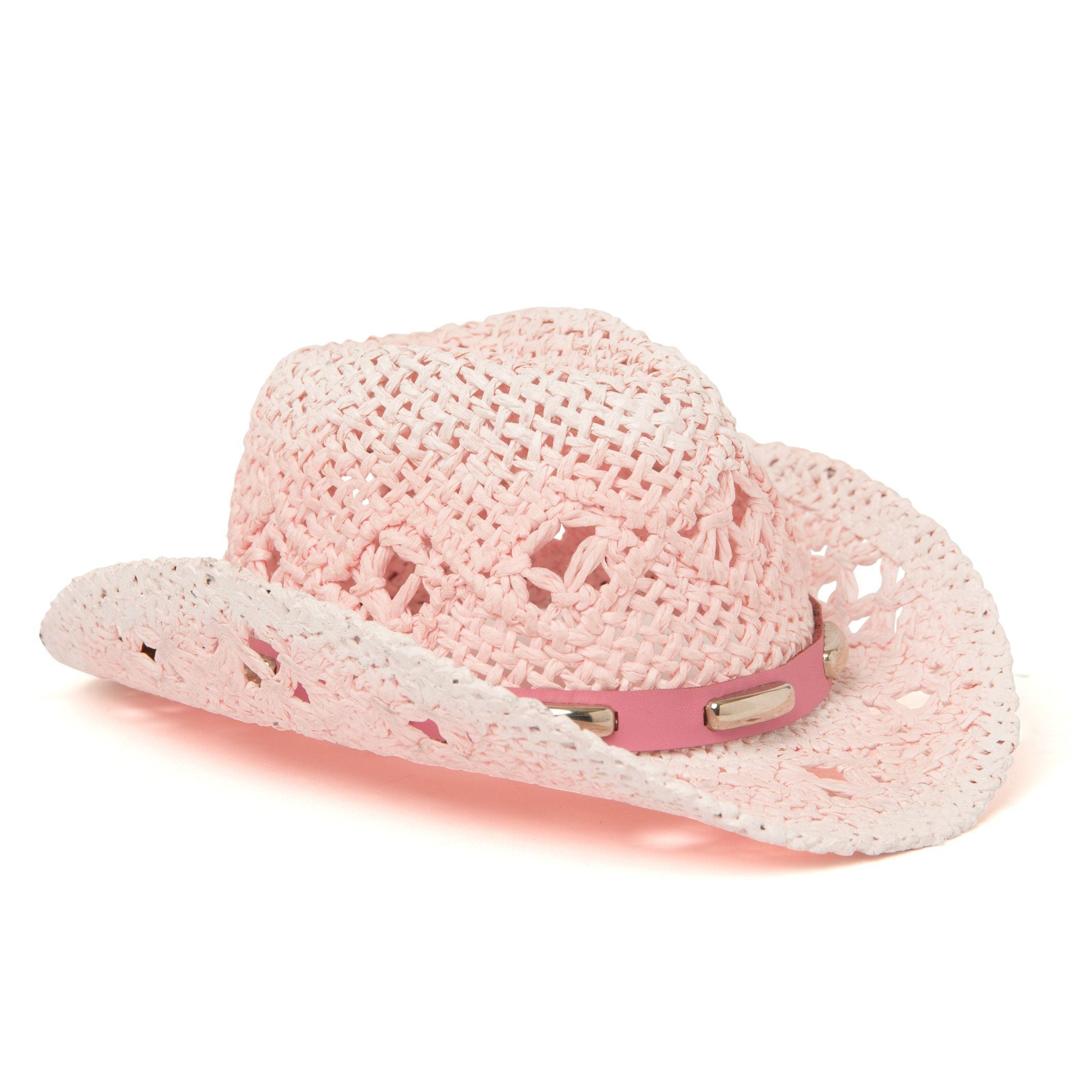 Pink ombre straw cowboy hat fit all 18 inch dolls.