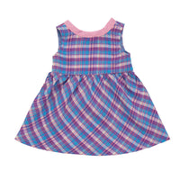 Plaid pink, purple and blue sundress fits all 18 inch dolls.